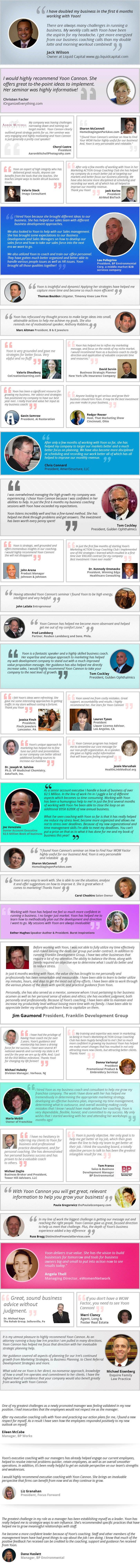 business coach testimonials for Yoon Cannon, top-rated business coaches